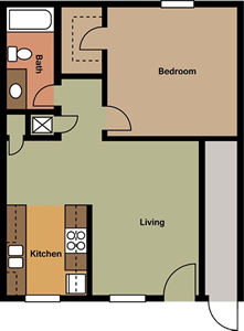 One Bedroom A / One Bath - 720 Sq. Ft.*