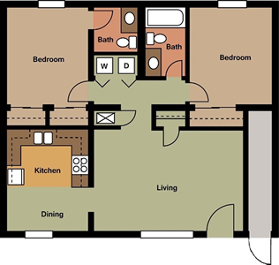Two Bedroom / One and 1/2 Bath - 1,020 Sq. Ft.*